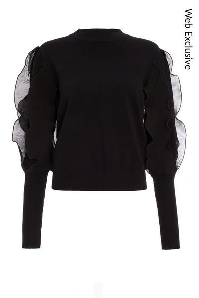 Black Knitted Chiffon Frill Jumper